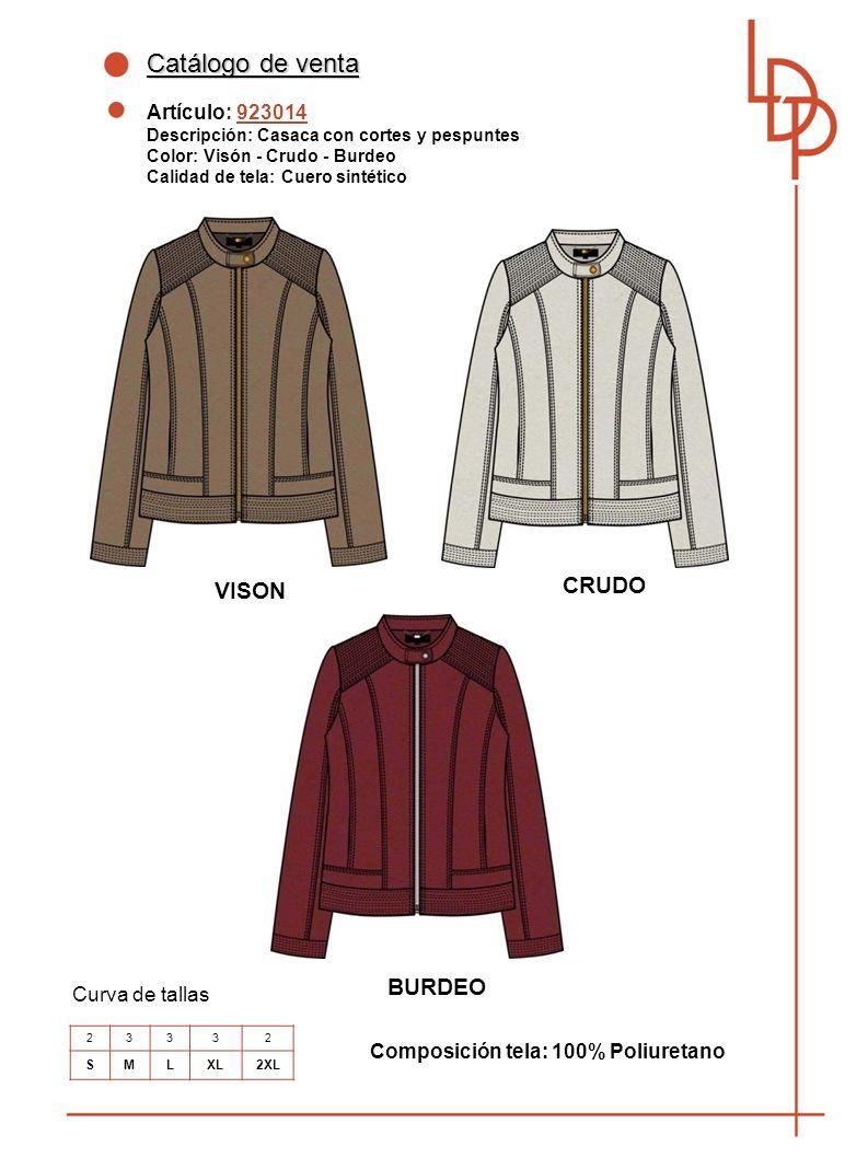 Catálogo de venta CRUDO VISON BURDEO Artículo: 923014 Curva de tallas