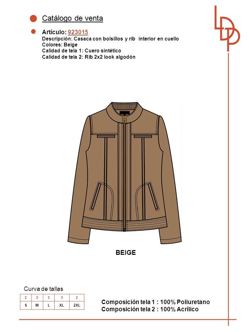 Catálogo de venta BEIGE Artículo: 923015 Curva de tallas