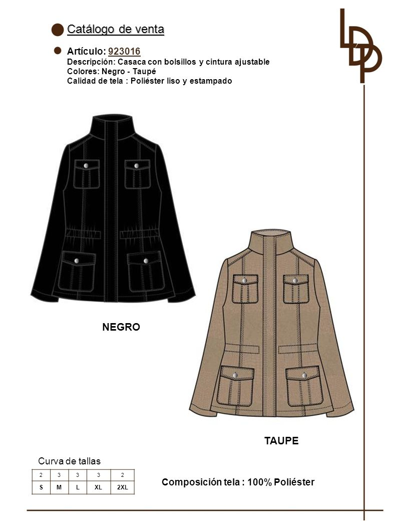 Catálogo de venta NEGRO TAUPE Artículo: 923016 Curva de tallas