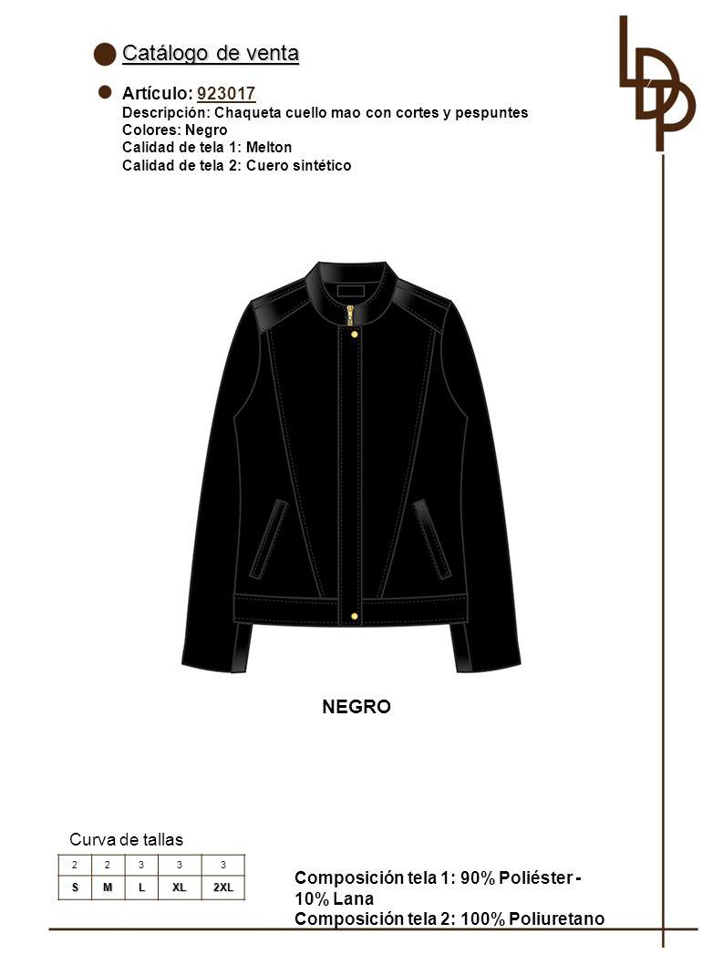 Catálogo de venta NEGRO Artículo: 923017 Curva de tallas