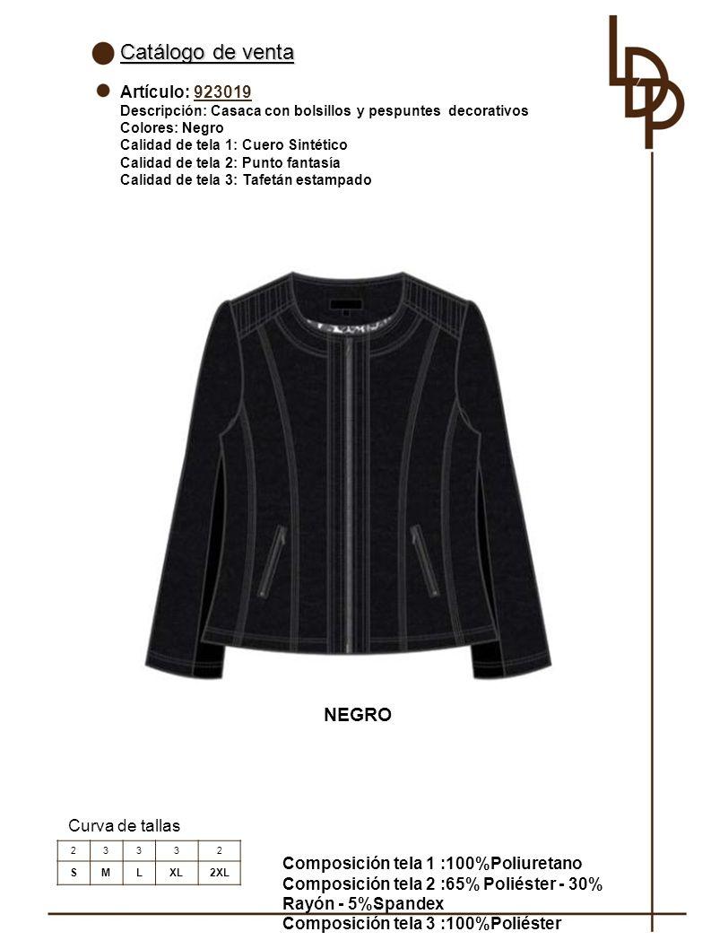 Catálogo de venta NEGRO Artículo: 923019 Curva de tallas