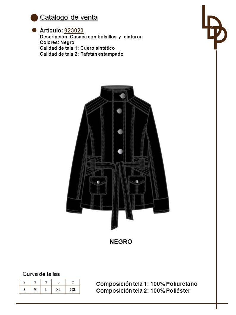 Catálogo de venta NEGRO Artículo: 923020 Curva de tallas
