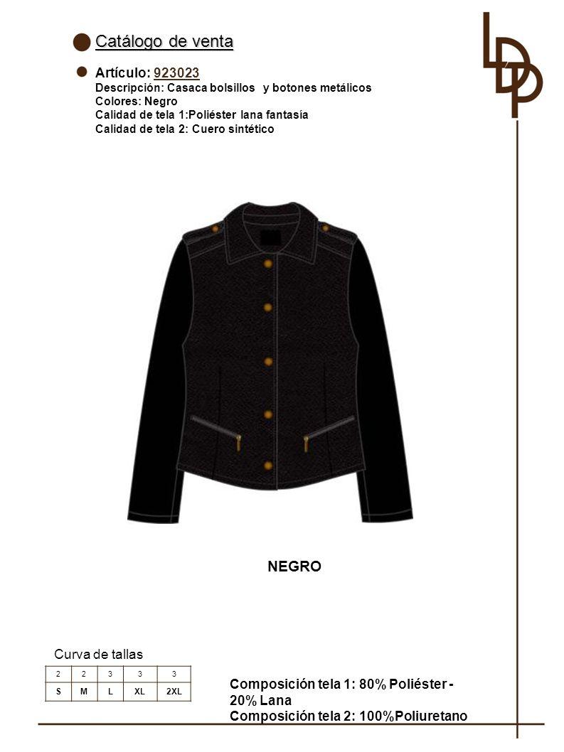 Catálogo de venta NEGRO Artículo: 923023 Curva de tallas