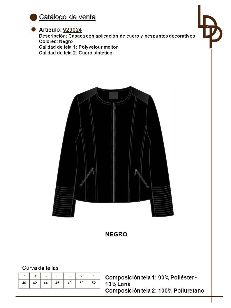 Catálogo de venta NEGRO Artículo: 923024 Curva de tallas