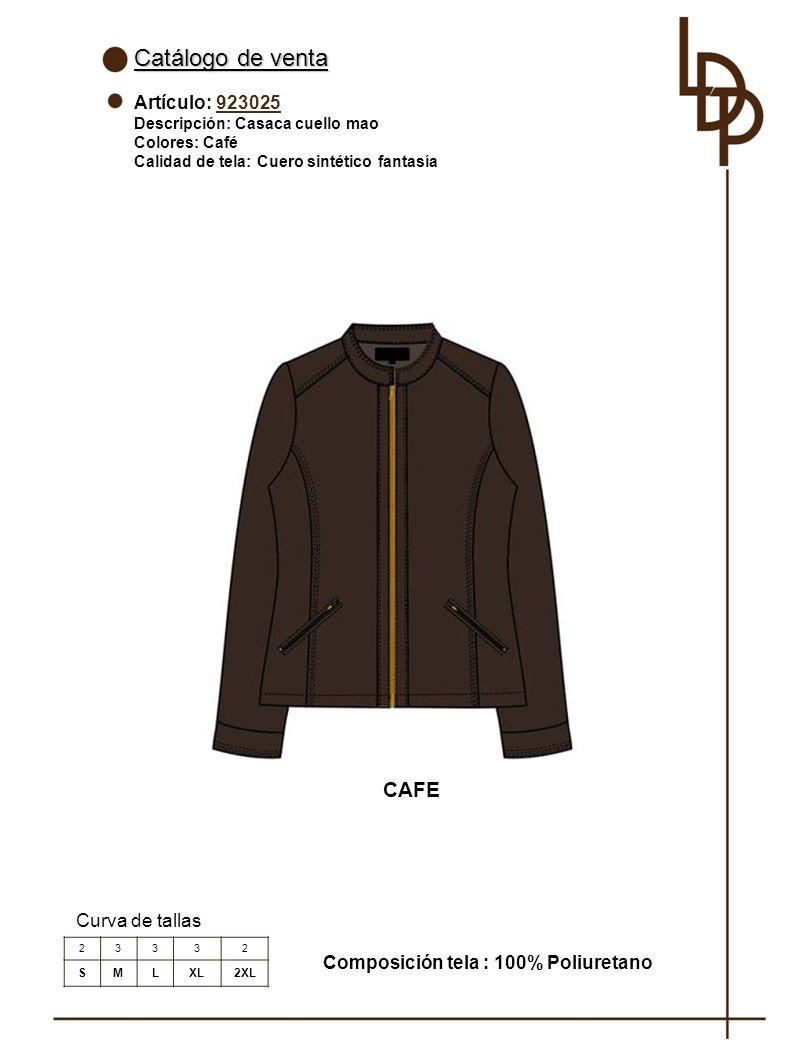 Catálogo de venta CAFE Artículo: 923025 Curva de tallas