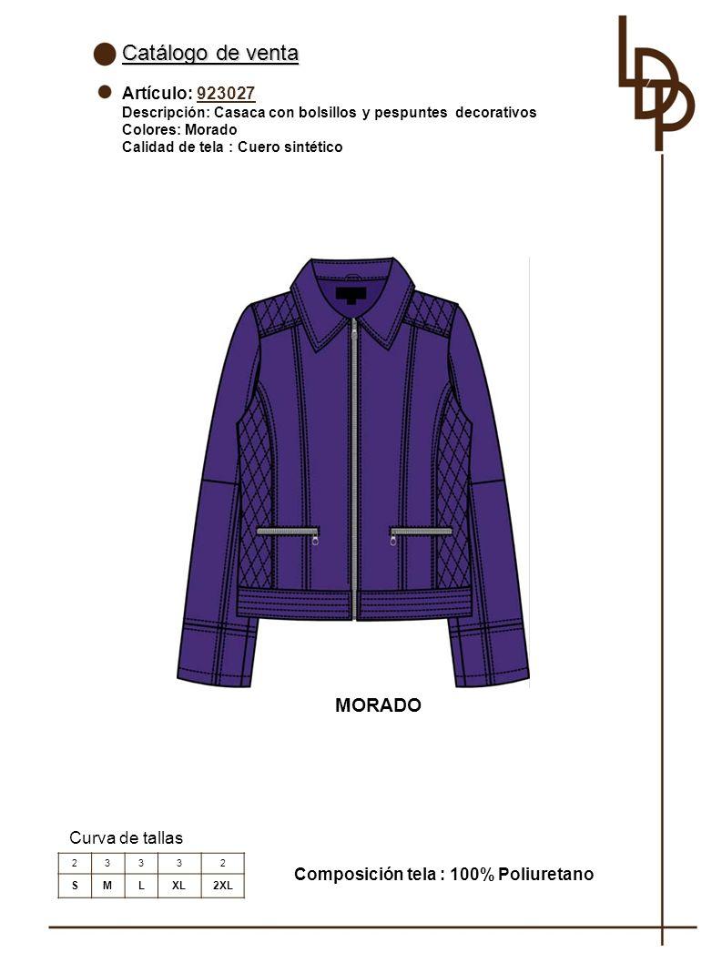 Catálogo de venta MORADO Artículo: 923027 Curva de tallas