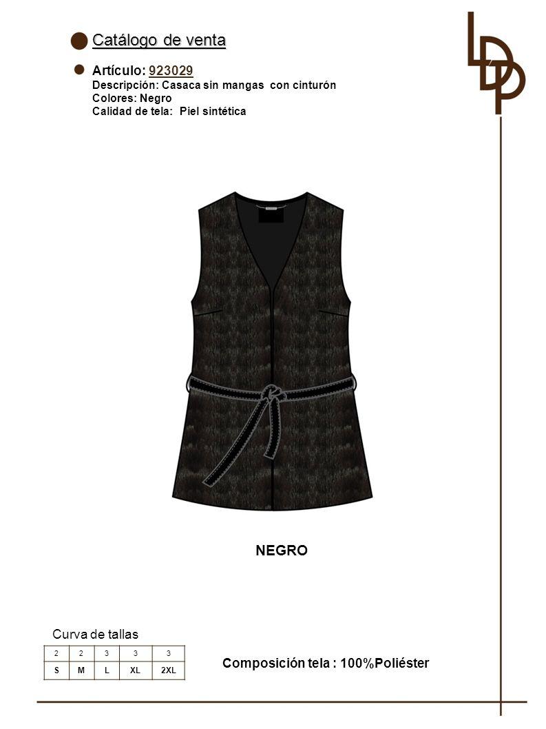 Catálogo de venta NEGRO Artículo: 923029 Curva de tallas