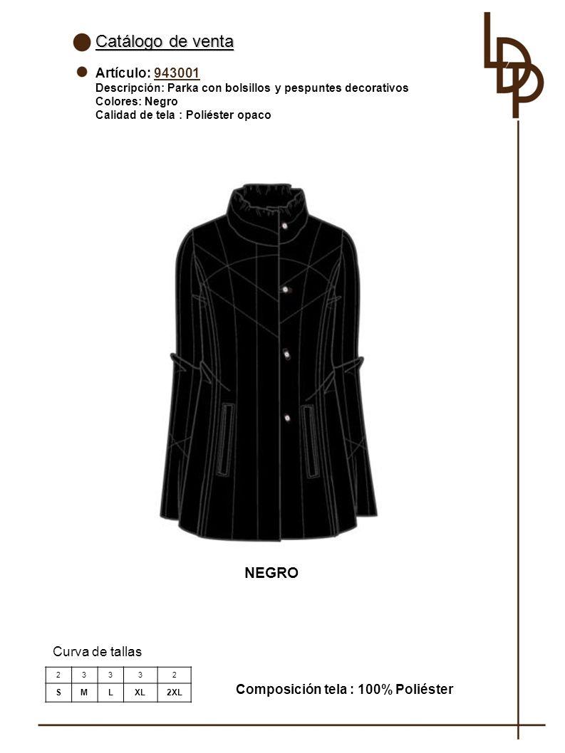 Catálogo de venta NEGRO Artículo: 943001 Curva de tallas