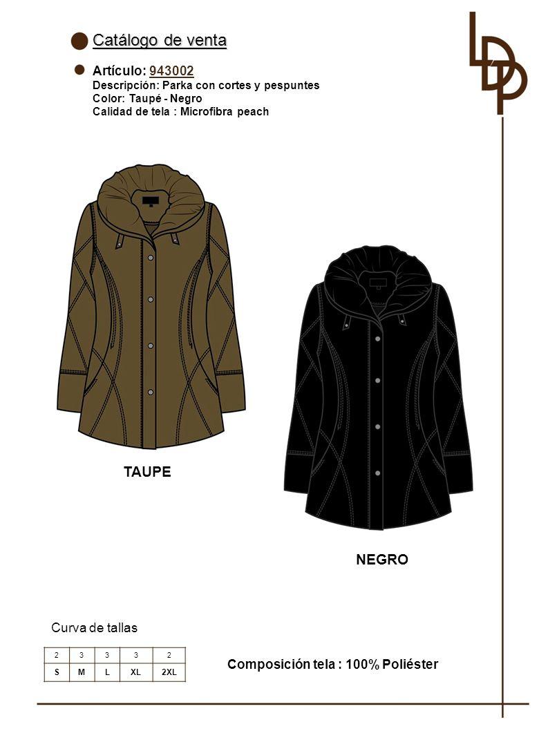 Catálogo de venta TAUPE NEGRO Artículo: 943002 Curva de tallas