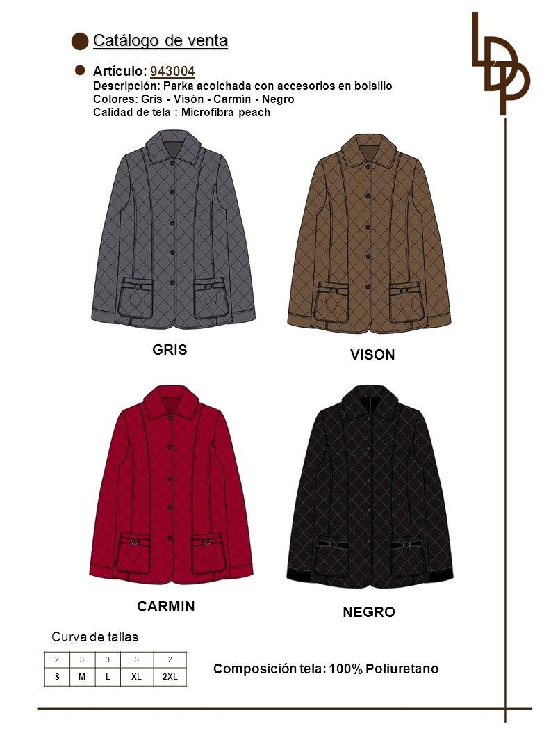 Catálogo de venta GRIS VISON CARMIN NEGRO Artículo: 943004