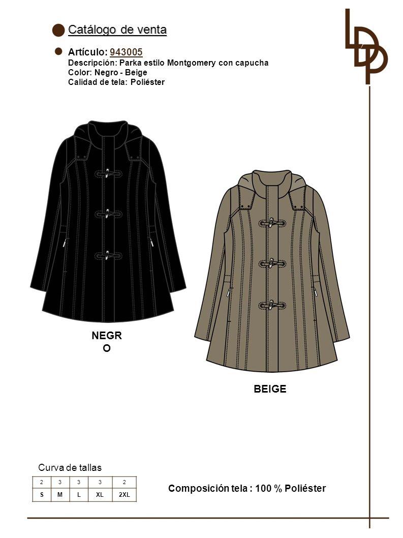 Catálogo de venta NEGRO BEIGE Artículo: 943005 Curva de tallas