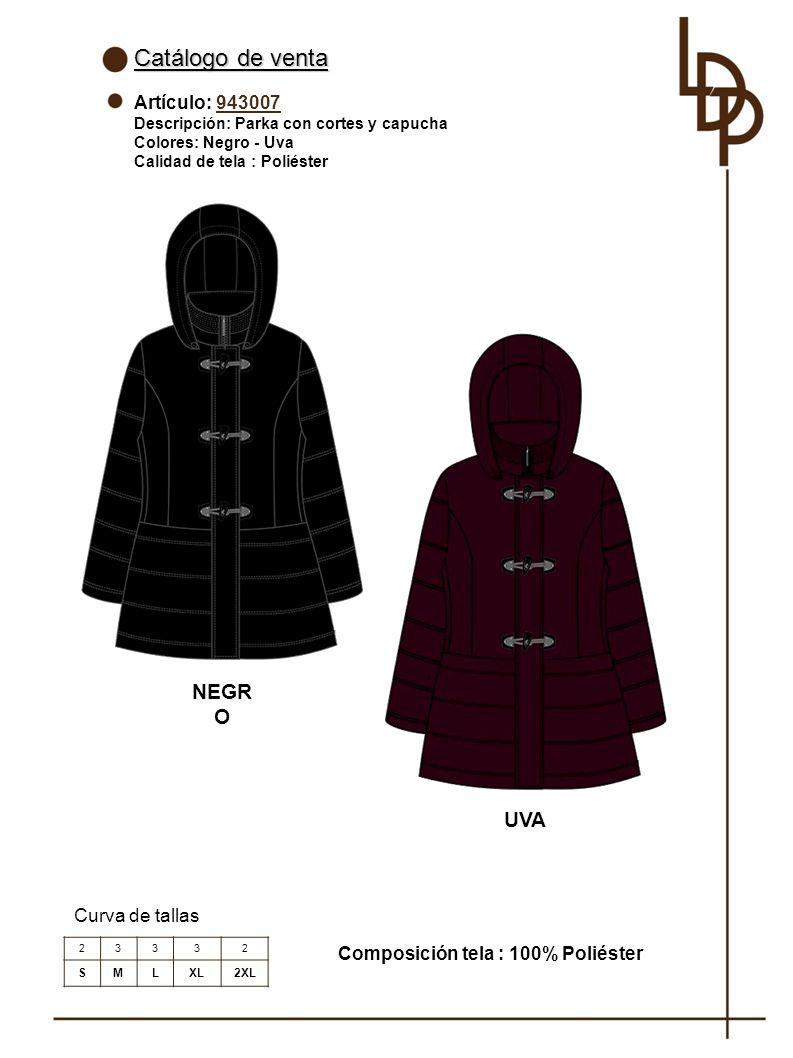 Catálogo de venta NEGRO UVA Artículo: 943007 Curva de tallas