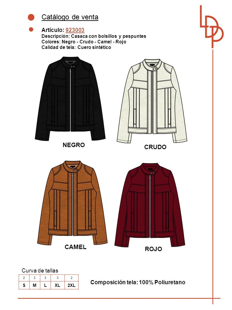 Catálogo de venta NEGRO CRUDO CAMEL ROJO Artículo: 923003