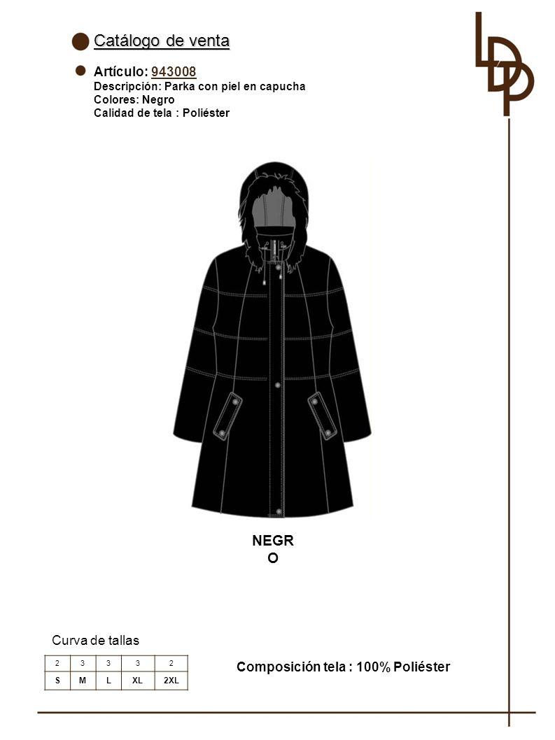Catálogo de venta NEGRO Artículo: 943008 Curva de tallas