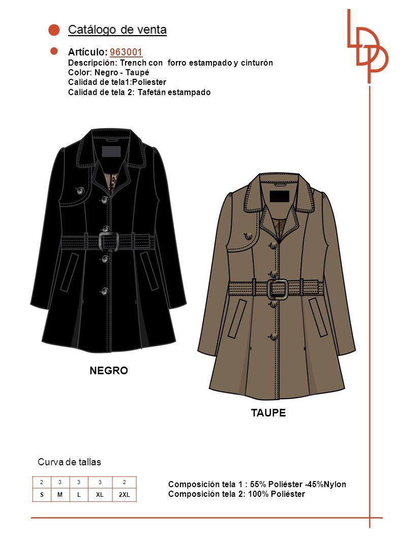 Catálogo de venta NEGRO TAUPE Artículo: 963001 Curva de tallas