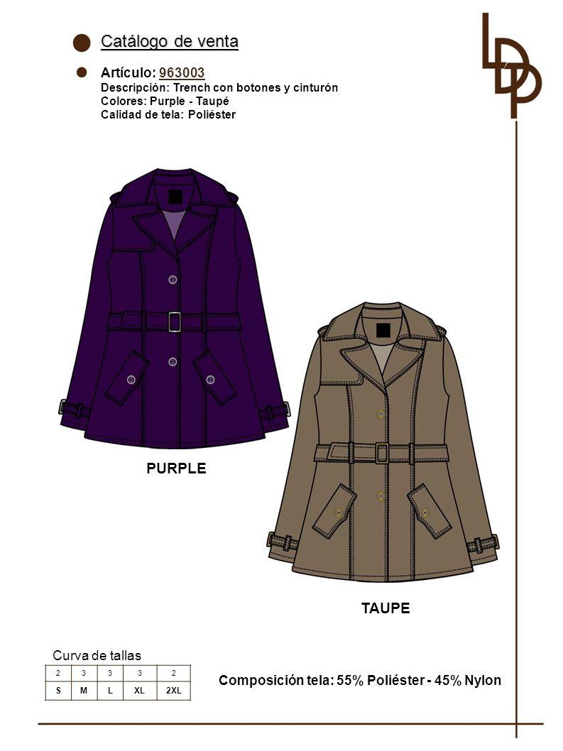 Catálogo de venta PURPLE TAUPE Artículo: 963003 Curva de tallas