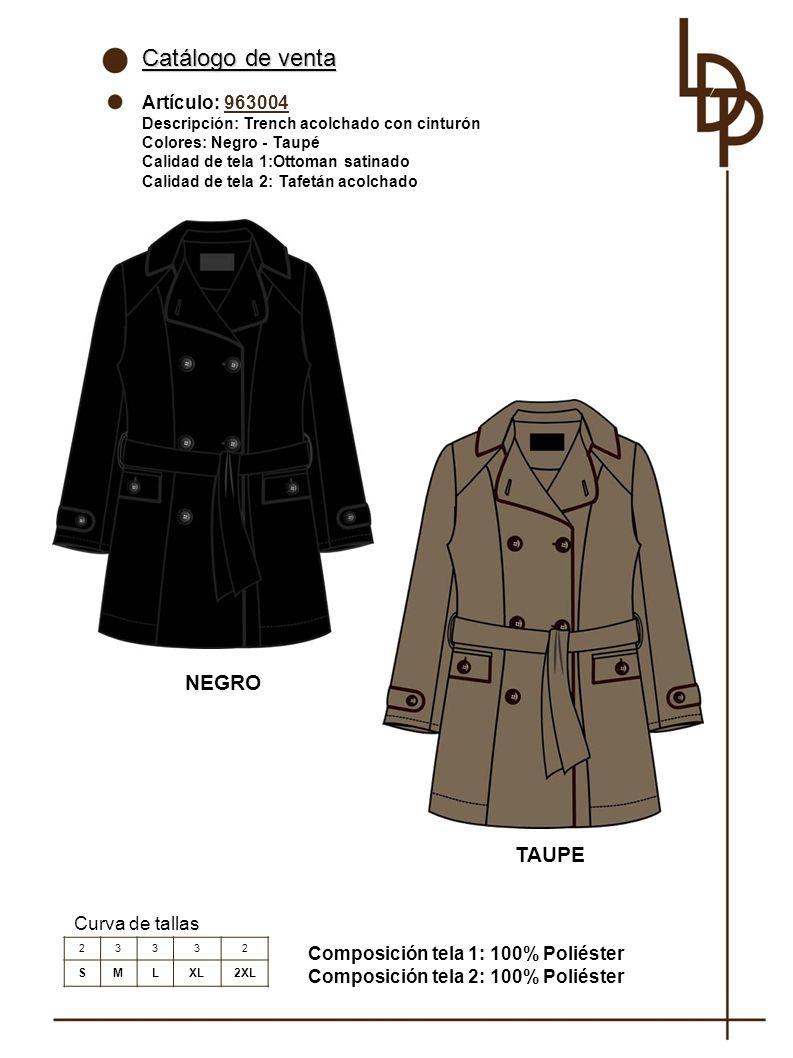 Catálogo de venta NEGRO TAUPE Artículo: 963004 Curva de tallas