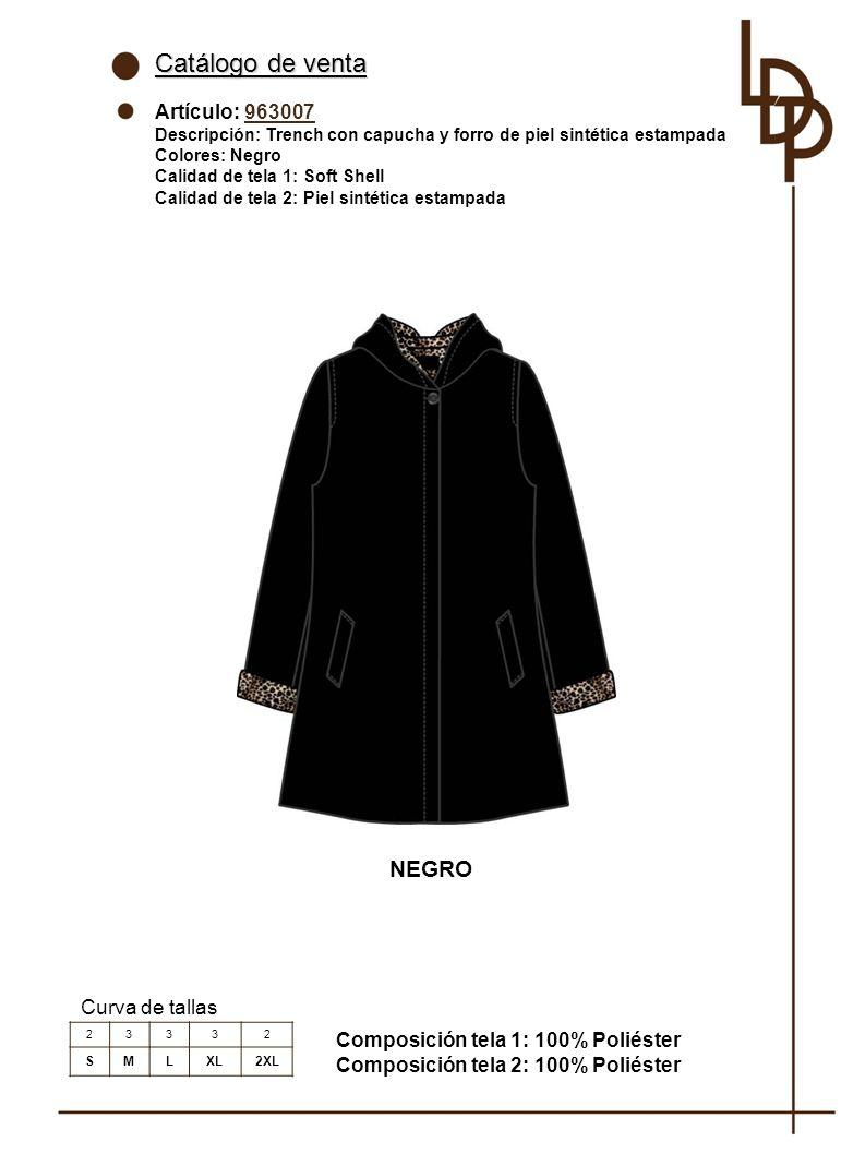 Catálogo de venta NEGRO Artículo: 963007 Curva de tallas