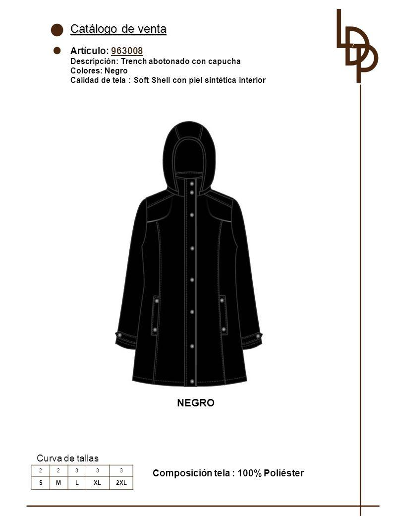 Catálogo de venta NEGRO Artículo: 963008 Curva de tallas