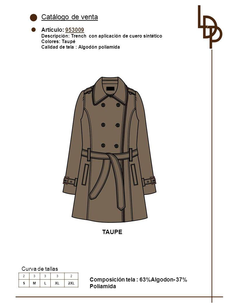 Catálogo de venta TAUPE Artículo: 953009 Curva de tallas