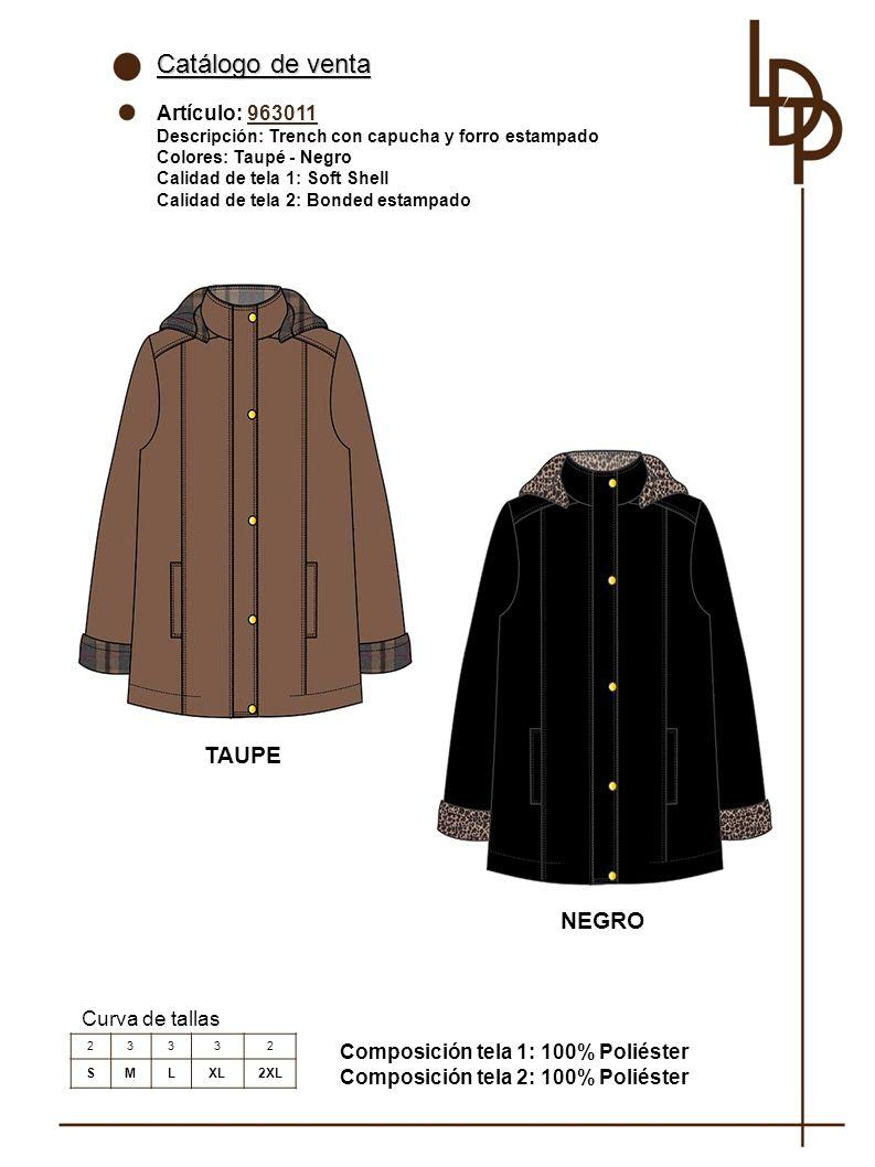 Catálogo de venta TAUPE NEGRO Artículo: 963011 Curva de tallas