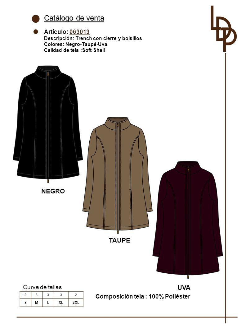 Catálogo de venta NEGRO TAUPE UVA Artículo: 963013 Curva de tallas