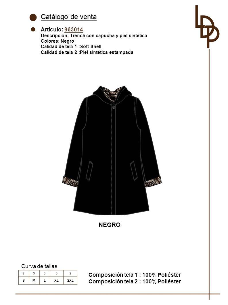Catálogo de venta NEGRO Artículo: 963014 Curva de tallas