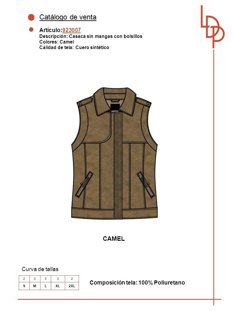 Catálogo de venta CAMEL Artículo:923007 Curva de tallas
