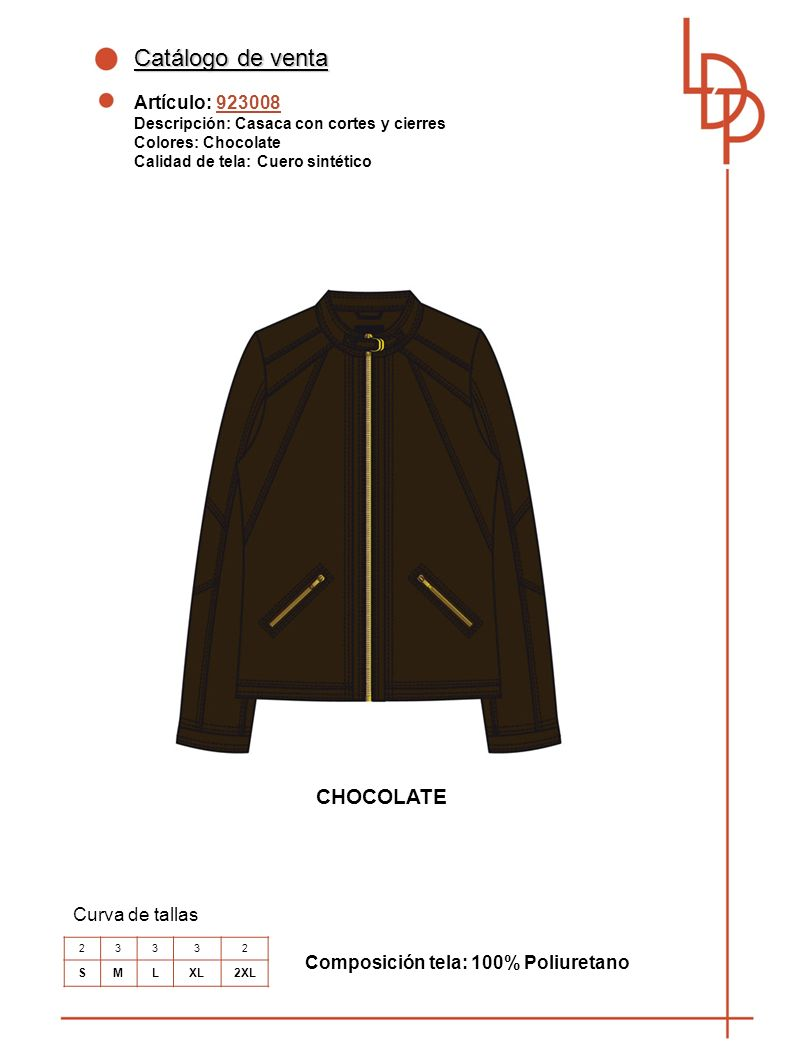 Catálogo de venta CHOCOLATE Artículo: 923008 Curva de tallas