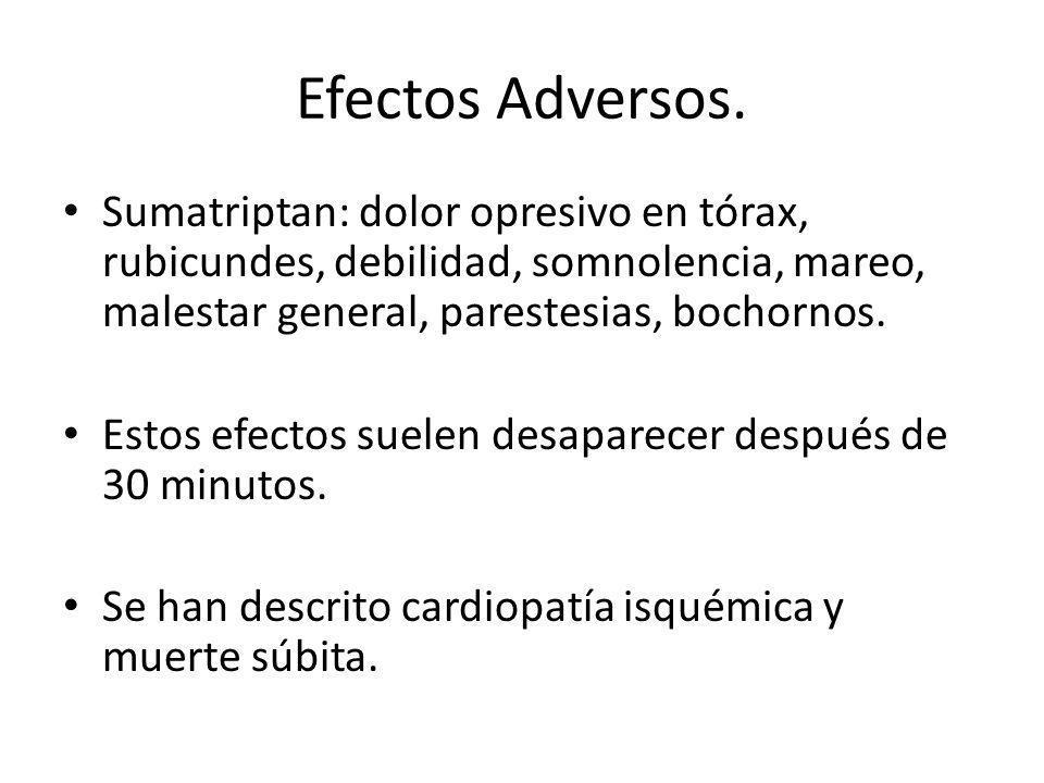Efectos Adversos. Sumatriptan: dolor opresivo en tórax, rubicundes, debilidad, somnolencia, mareo, malestar general, parestesias, bochornos.