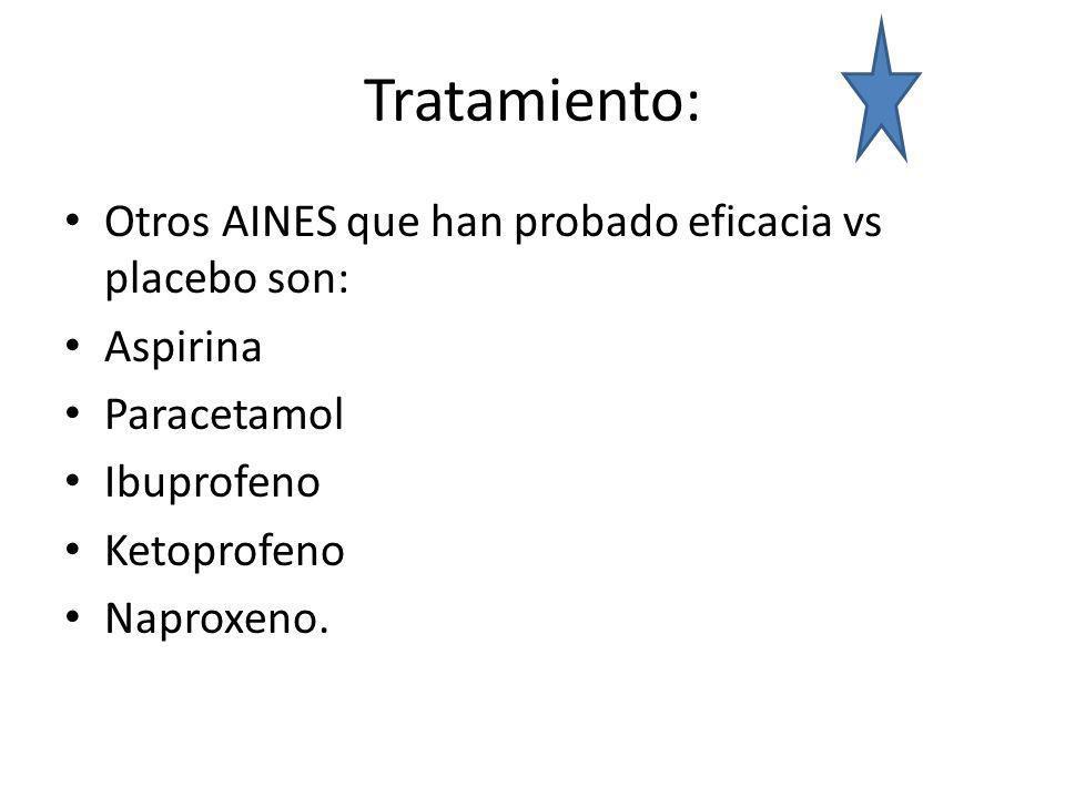 Tratamiento: Otros AINES que han probado eficacia vs placebo son:
