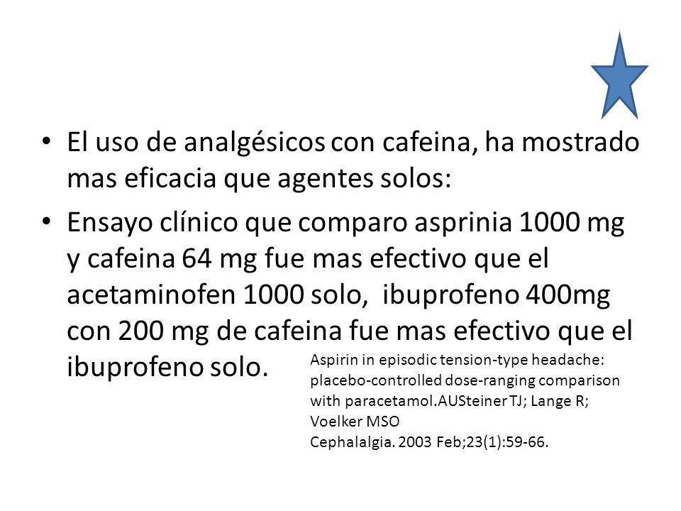 El uso de analgésicos con cafeina, ha mostrado mas eficacia que agentes solos: