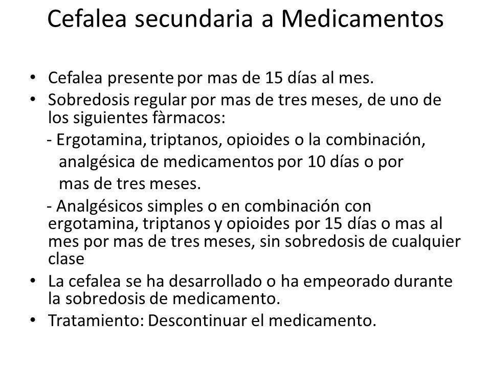 Cefalea secundaria a Medicamentos