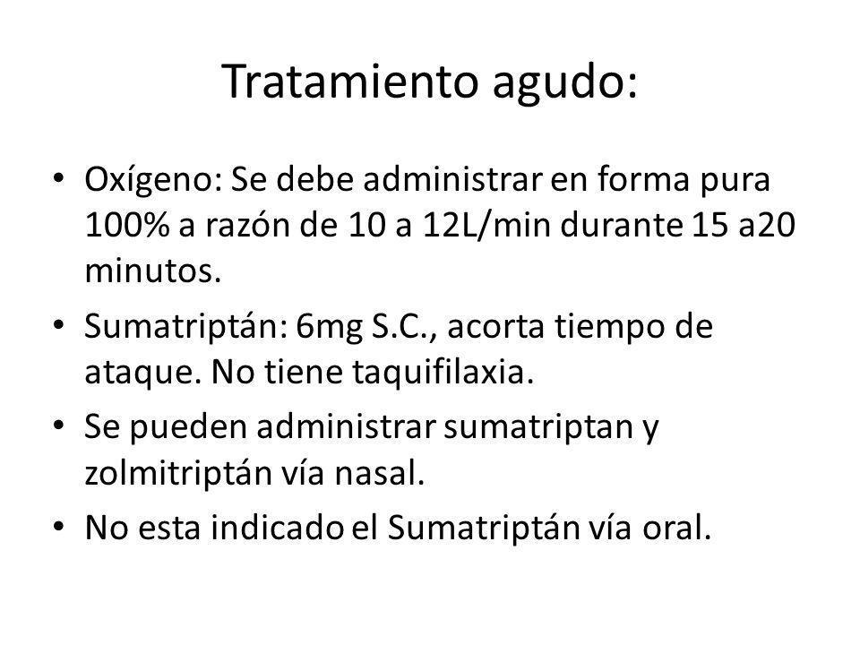Tratamiento agudo: Oxígeno: Se debe administrar en forma pura 100% a razón de 10 a 12L/min durante 15 a20 minutos.