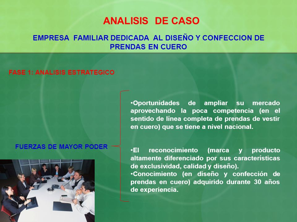 ANALISIS DE CASO EMPRESA FAMILIAR DEDICADA AL DISEÑO Y CONFECCION DE PRENDAS EN CUERO. FASE 1: ANALISIS ESTRATEGICO.