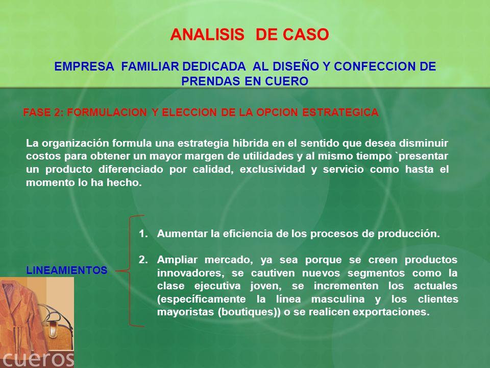 ANALISIS DE CASO EMPRESA FAMILIAR DEDICADA AL DISEÑO Y CONFECCION DE PRENDAS EN CUERO. FASE 2: FORMULACION Y ELECCION DE LA OPCION ESTRATEGICA.