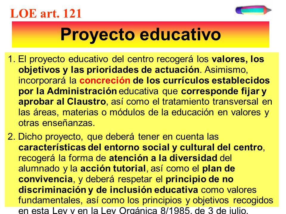 Proyecto educativo LOE art. 121