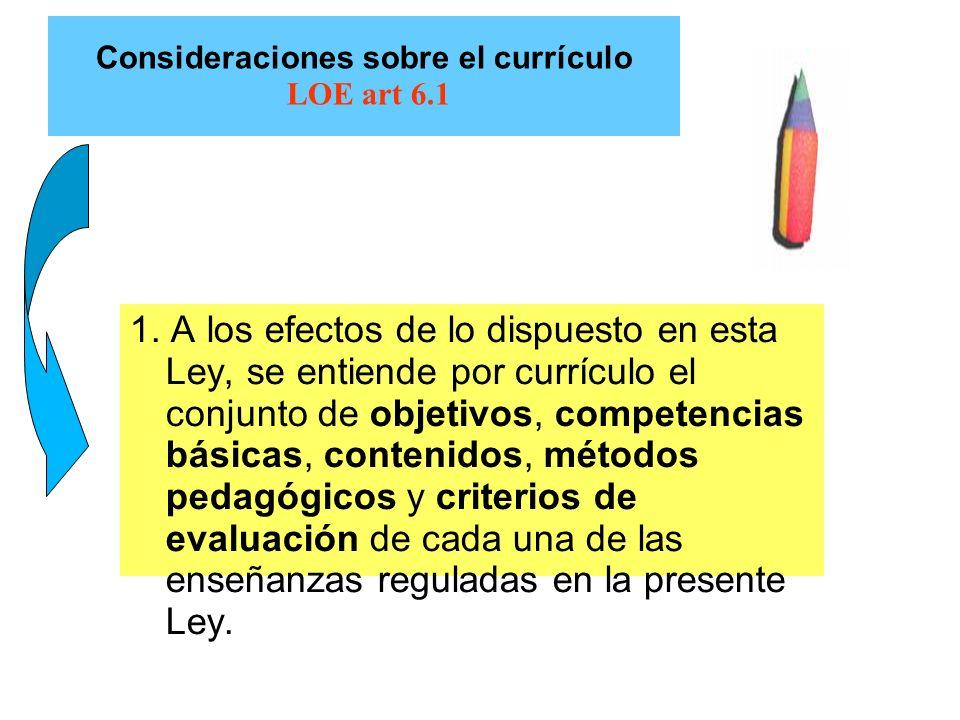 Consideraciones sobre el currículo LOE art 6.1