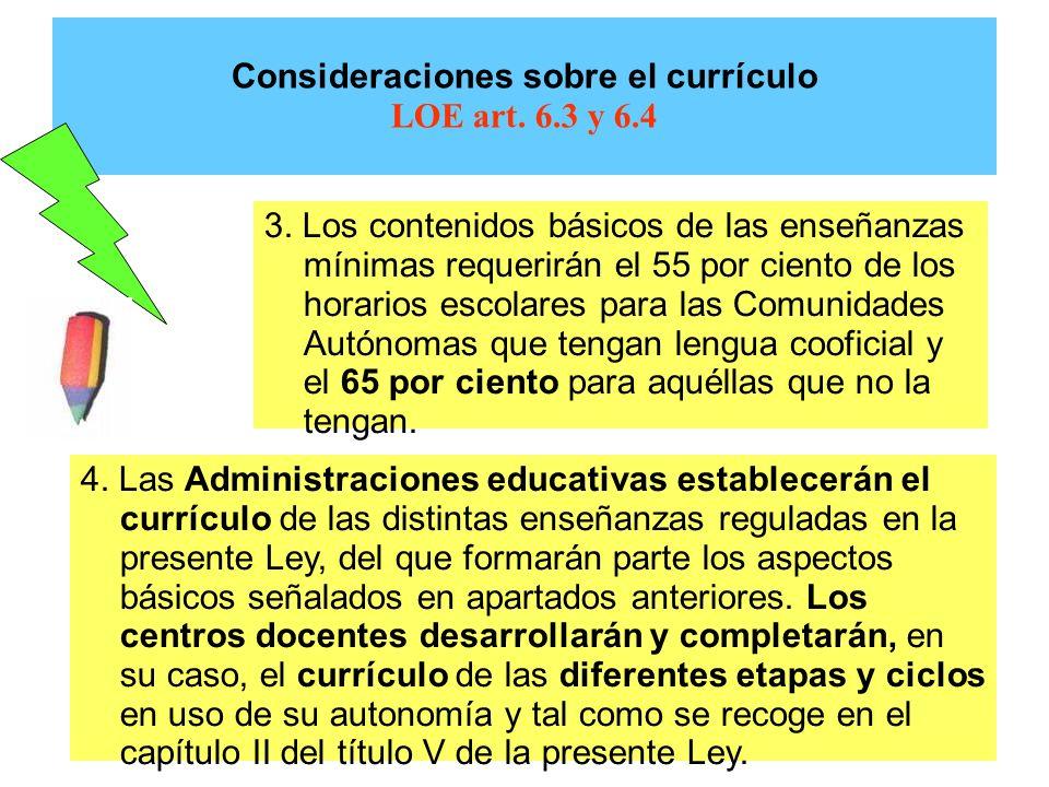 Consideraciones sobre el currículo LOE art. 6.3 y 6.4