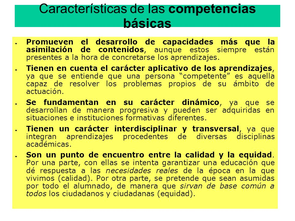 Características de las competencias básicas