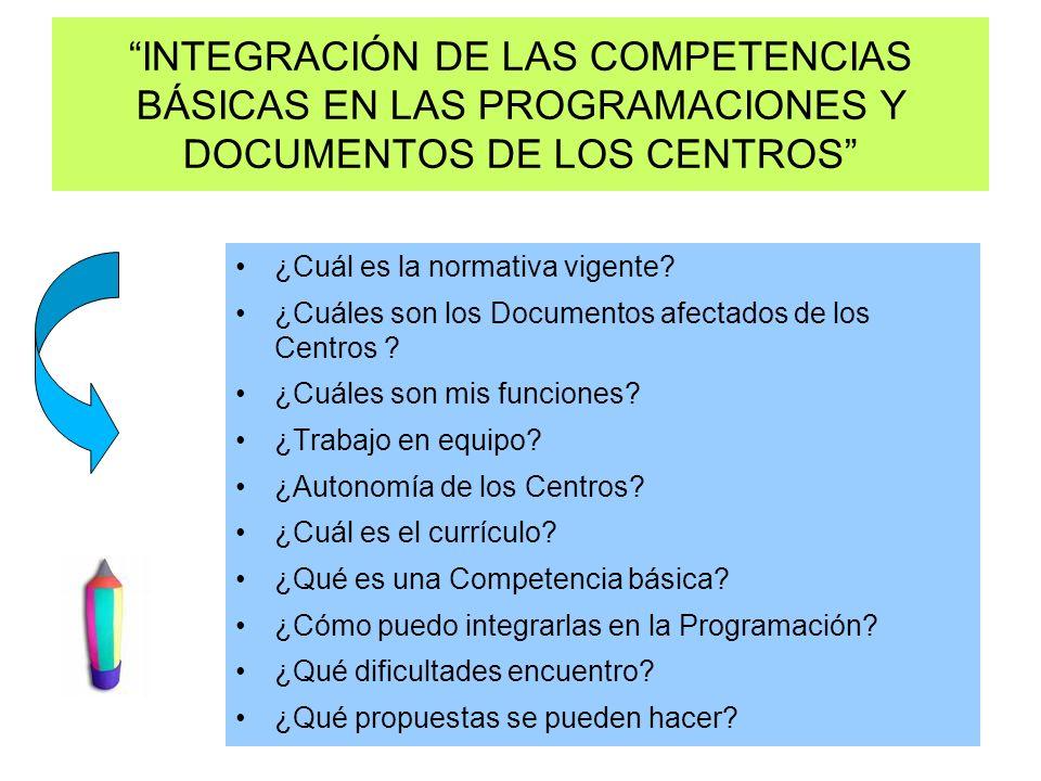 INTEGRACIÓN DE LAS COMPETENCIAS BÁSICAS EN LAS PROGRAMACIONES Y DOCUMENTOS DE LOS CENTROS