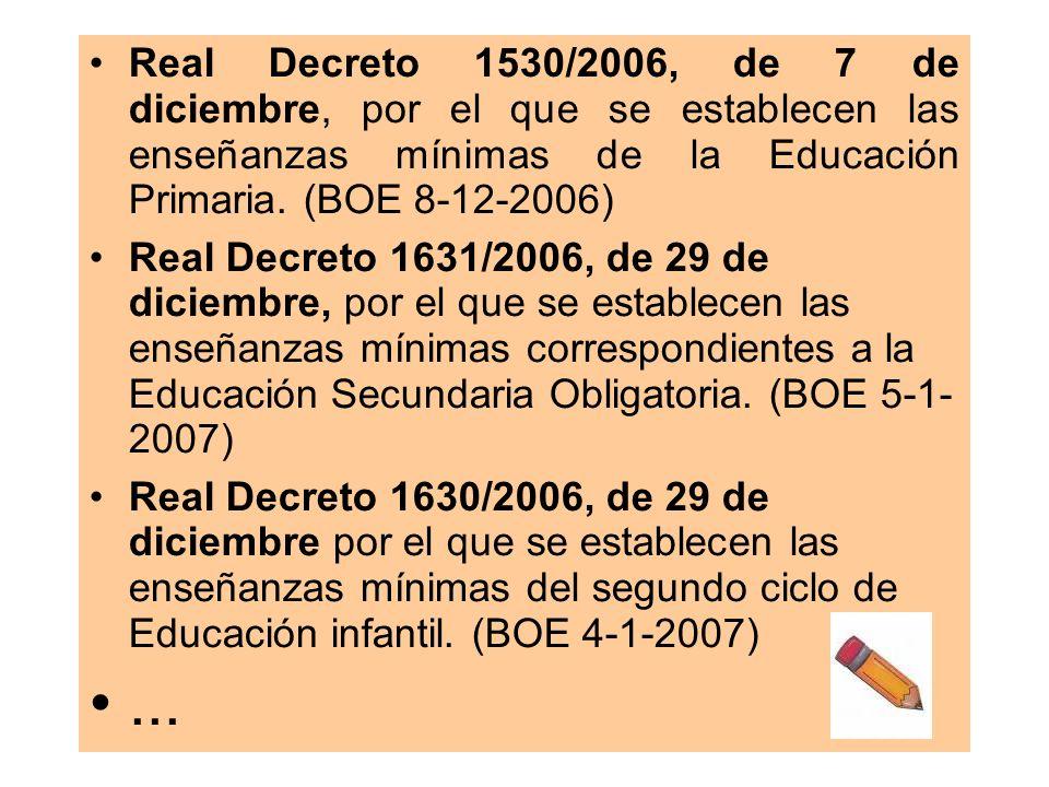 Real Decreto 1530/2006, de 7 de diciembre, por el que se establecen las enseñanzas mínimas de la Educación Primaria. (BOE 8-12-2006)