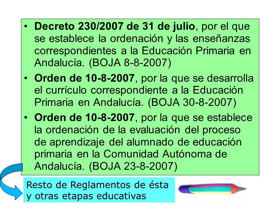 Decreto 230/2007 de 31 de julio, por el que se establece la ordenación y las enseñanzas correspondientes a la Educación Primaria en Andalucía. (BOJA 8-8-2007)