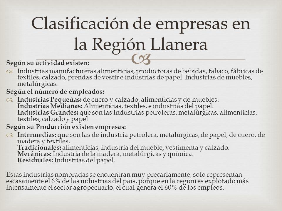 Clasificación de empresas en la Región Llanera