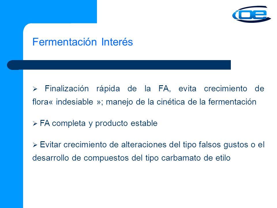Fermentación Interés  Finalización rápida de la FA, evita crecimiento de flora« indesiable »; manejo de la cinética de la fermentación.