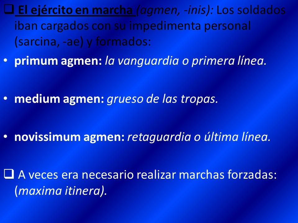 El ejército en marcha (agmen, -inis): Los soldados iban cargados con su impedimenta personal (sarcina, -ae) y formados: