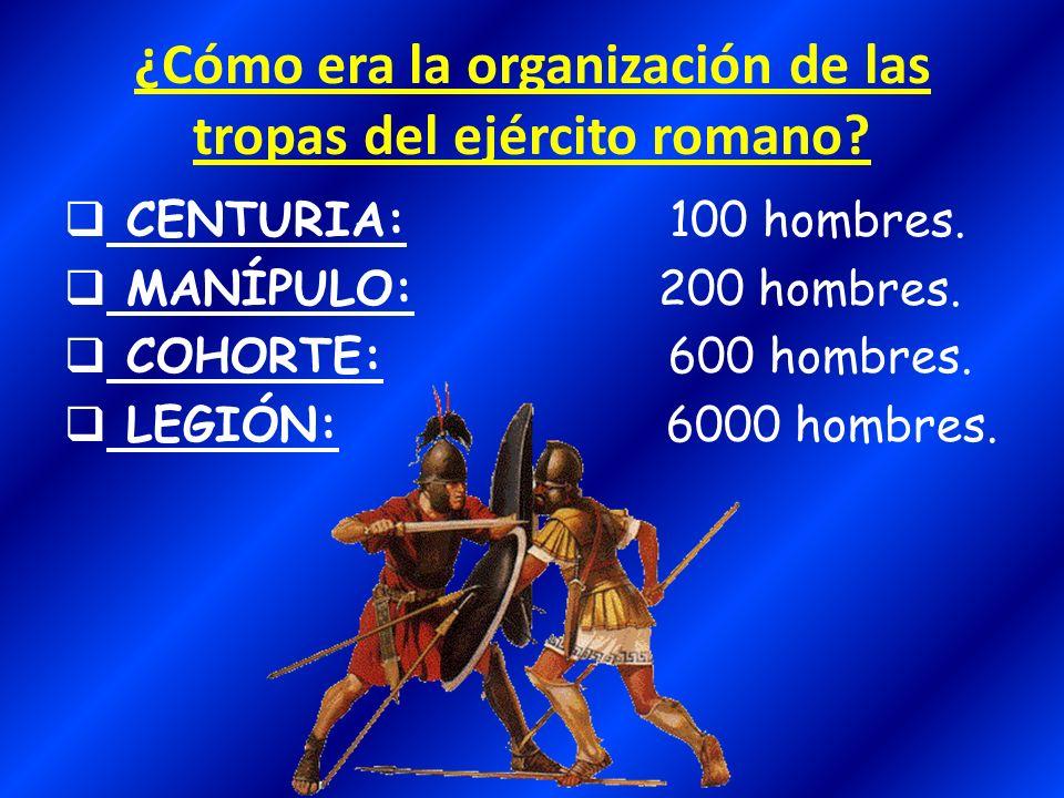 ¿Cómo era la organización de las tropas del ejército romano