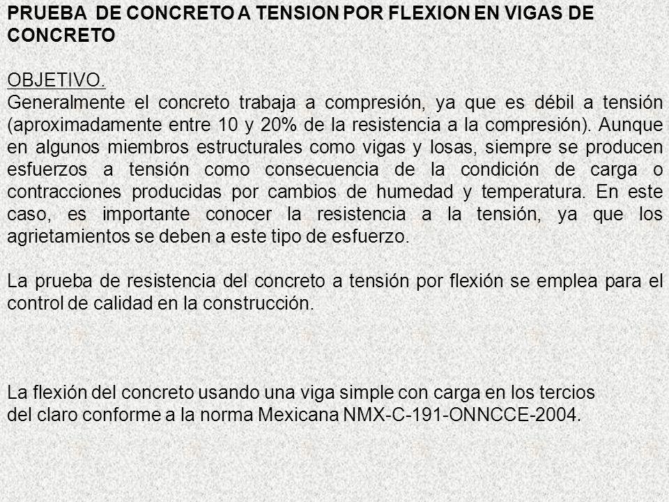 PRUEBA DE CONCRETO A TENSION POR FLEXION EN VIGAS DE CONCRETO