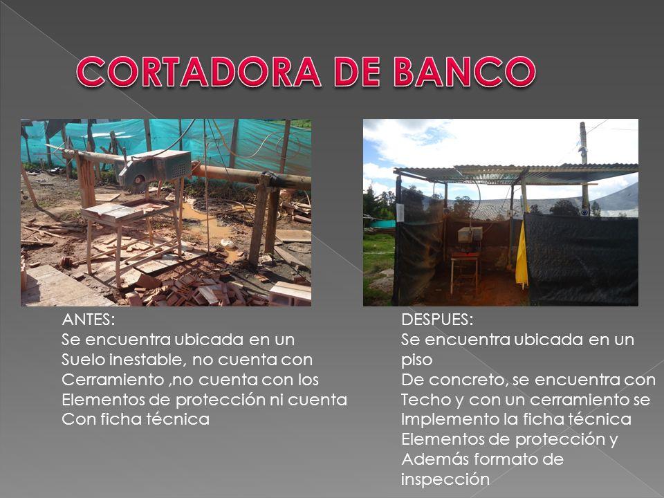 CORTADORA DE BANCO ANTES: Se encuentra ubicada en un