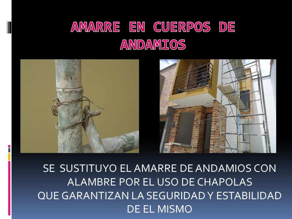 AMARRE EN CUERPOS DE ANDAMIOS